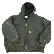Carhartt Mens Olive Green Insulated Winter Work Coat Quilted Liner Size 2xl Photo