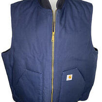 Carhartt Mens Size 2xl Tall Navy Blue Arctic Quilt Lined Duck Vest  Photo