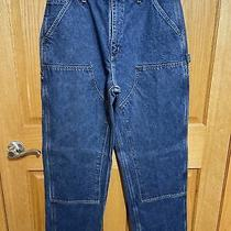 Carhartt Mens Size 34 X 32 Blue Double Front Dungaree Fit Work Pants Rn 14806 Eu Photo
