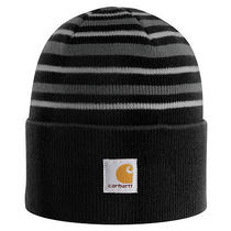 Carhartt Mens Striped Stretchable Watch Hat Black Photo