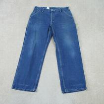 Carhartt Pants Mens 36 Blue Work Wear Casual Denim Jeans Mens 36x30 A57 Photo