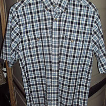 Carhartt Plaid Short Sleeve Button Down Shirt W/pen Pocket Blue S238 Medium Nwot Photo