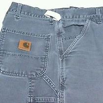 Carhartt Size 44x32 Canvas Carpenter Jeans B11 Ptb Gray Dungaree Fit Work Pants Photo