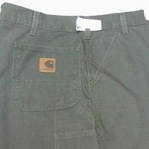 Carhartt Size 48x32 Canvas Carpenter Jeans B11 Mos Green Dungaree Fit Work Pants Photo