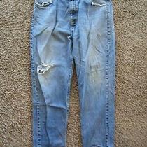 Carhartt Straight Leg Distressed 100% Cotton Med Wash Denim Men's Pants Size 38 Photo