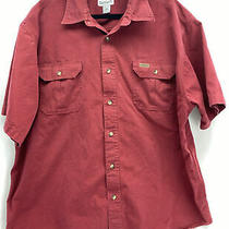 Carhartt Sz 2xl Burgundy 2 Pocket Button Down Cotton Short Sleeve Shirt Photo