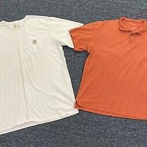 Carhartt T Shirt Mens Size 3xl Tall White Shirt & Cabelas Orange Polo Shirt Photo