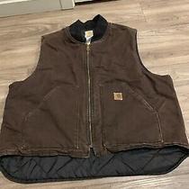 Carhartt V02 Dkb Arctic Men's Vest Full Zip Quilted Lining Cotton 2xl Work Photo