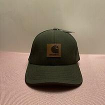 Carhartt Vintage Made in Usa Leather Patch Moss Green Canvas Hat Nwt Adjustable Photo
