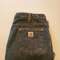 Carhartt Womans Flannel Lined Blue Jeans Size 10 Inseam 30 Photo