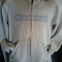 Carhartt Womans Medium Gray Hooded Pocket Logo Name Jacket Photo