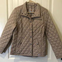 Carhartt Womens S 4-6 Tan Quilted Snap Front Wellington Diamond Coat Jacket Euc Photo