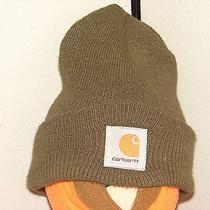 Carhartt Work Waer Drab Olive Green Ski Watch Dock Cap Hat Lid Warm Cold Winter Photo