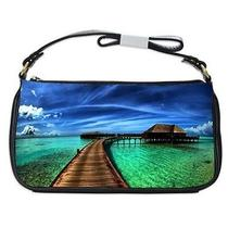 Caribbean Fantasy Home in Water Black Leather Shoulder Bag Photo