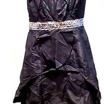 Carmen Marc Valvo Black  Silk  Ruffle Pleated Taffeta Sequined Party Dress Sz 12 Photo