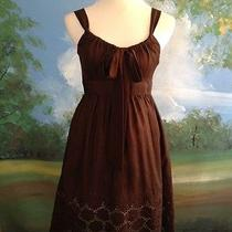 Carmen Marc Valvo Brown Embroidered Silk Dress Size 4 Euc Sundress Photo