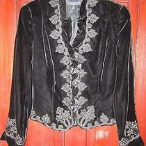 Carmen Marc Valvo Collection 14 L Velvet Jacket Blazer Black Ruffle Silk Rayon Photo