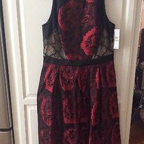 Carmen Marc Valvo Dress Red/floral 14 Size Full Fluted a- Line Skirt Photo
