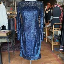 Carmen Marc Valvo Infusion Blue Sequin Cocktail Dress Sz 4 Photo