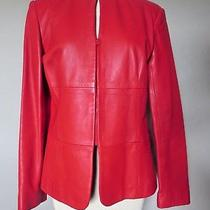 Carmen Marc Valvo Red Leather Zip Blazer Jacket M Photo