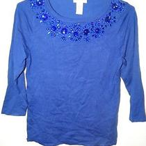 Carmen Marc Valvo Royal Blue Sweater Embellished Size Large  Photo