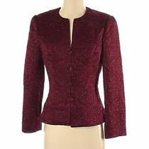 Carmen Marc Valvo Women Red Wool Blazer 6 Photo