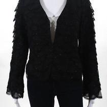 Carmen Marc Valvo Women's Blazer Jacket Size 4 Black Silk Beaded Ll19ll Photo