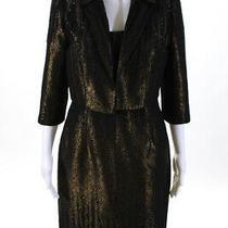 Carmen Marc Valvo Womens Metallic Beaded Dress Blazer Suit Gold Black Size 8 6 Photo