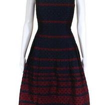 Carmen Marc Valvo Womens Scallop Flare Dress Blue Red Size 4 10756942 Photo