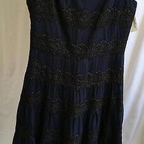 Carmen Marc Valvo Womens Silk Spaghetti Lace Dress Blue Size 10 Retail 600 Photo