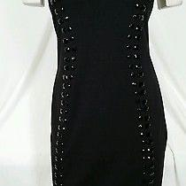 Carmen Marcvalvo Black Ponte  Knit Emblishments Size Medium Dress  New  Photo