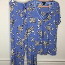 Carole Hochman Midnight Pajama Set Xl Blue White Short Sleeve Top Pants Photo
