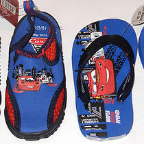 Cars Disney Flip Flops & Aqua Shoes Set Boy's Size 5/6 New With Tag Photo