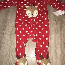 Carter Baby 3 Mo Months 3m Christmas Reindeer Footed Pajamas Red One Piece Photo