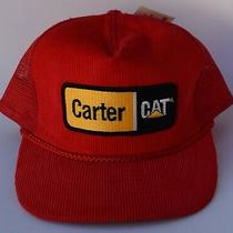 Carter Cat Caterpillar Patch Corduroy Trucker Baseball Cap Hat One Size Red Photo