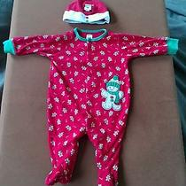 Carter's 6 Month Baby Boy or Girl  Holiday Sleeper/outfit With Santa Hat Photo