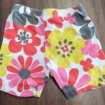 Carter's 9 Mo White Flower Red Yellow Pink Bike Shorts Elastic Waist Euc Db261 Photo