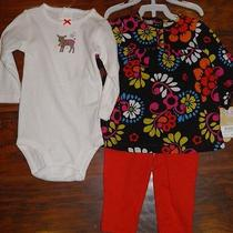 Carter's 9m Month's Infant Girl's 3pc Set Outfit Red Brown Floral Reindeer Nwt Photo