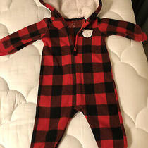 Carters Baby Bodysuit With Hoodie Size 9 Months Red and Black Plaid Photo