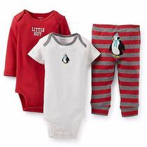 Carter's Baby Boy 3pc Bodysuits & Pants Set 3 Months - Red Photo