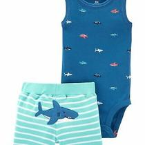 Carter's Baby Boy's Muscle Bodysuit and Shorts Set Shark on the Bum (3m) Blue Photo