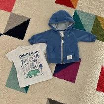 Carters Baby Boys Dinosaur Fossil Shirt & Hooded Zip Up Jacket Size 3 Months Photo