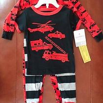 Carter's Baby Boys Firetrucks/emergency/striped Pajamas 2 Sets (4 Pcs) 12 Months Photo