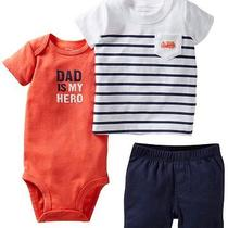 Carter's Baby Boys  T-Shirt Bodysuit Shorts 3pc Set Size 6 Month New Photo