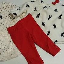 Carter's Baby Girl 3m Reindeer Outfit 3pc Set Red Black White Photo