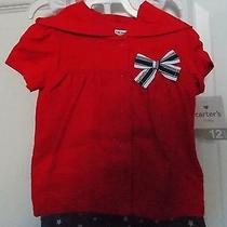 Carter's Baby Girl Outfit 3pcs Set Sailor Style Red Blue and White Size 12month Photo