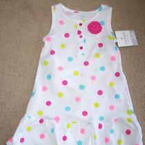 Carter's Baby Girls Polka Dot Dress White Pink Green Aqua Diaper Cover 24 M Nwt Photo