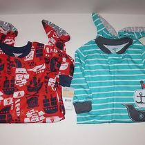 Carter's Boys Pajamas 2 Pairs Sz 12 Months Pirate Ships Footed Sleepwear Nwt Photo