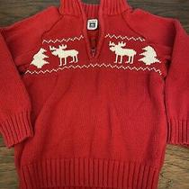 Carter's Boys Red Knit Sweater Moose 4t Photo