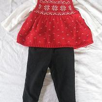Carter's Christmas Holiday 3-Piece Red Sweater Dress Poinsetta 9 Month Baby Photo